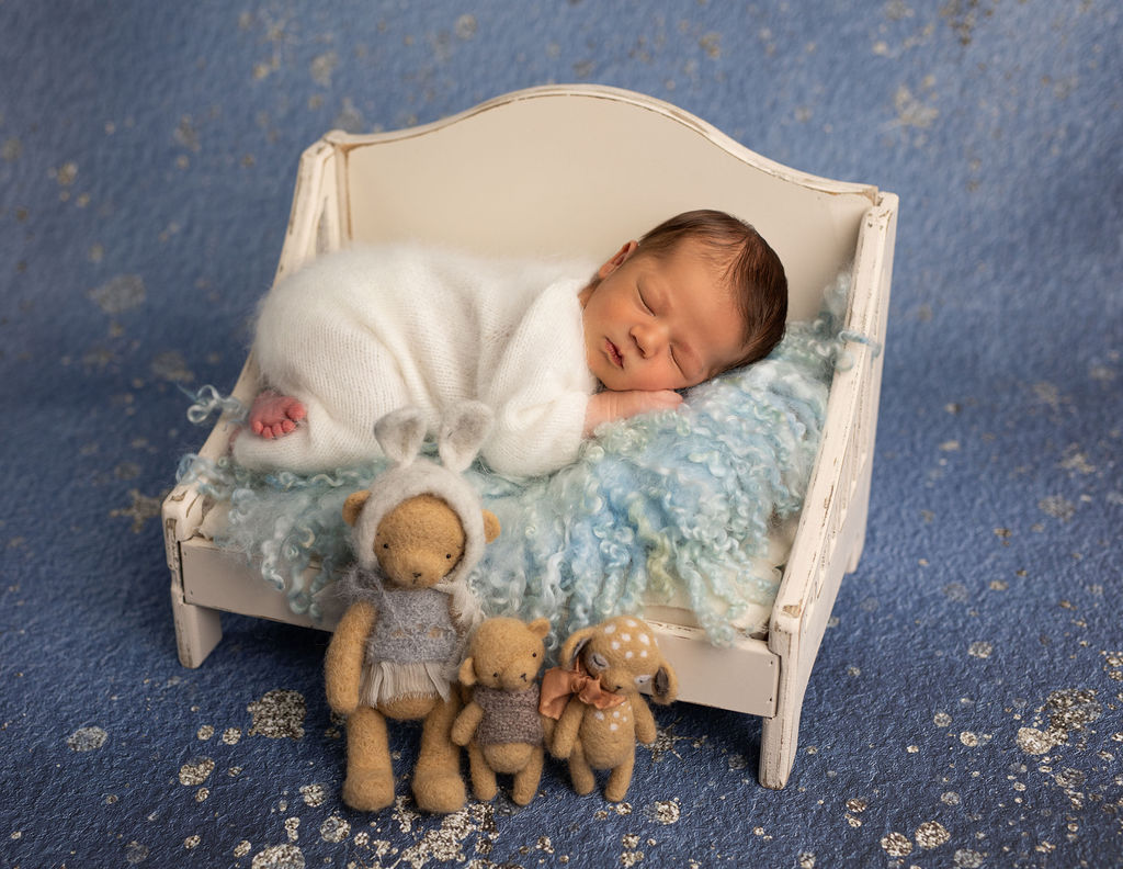 Beautiful pose of the baby who is photographed while sleeping in his cute bed with beautiful toys